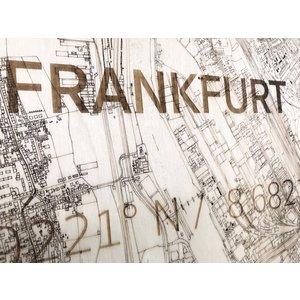 BRANDTHOUT. BRANDTHOUT. Wanddecoratie Citymap Frankfurt   Houten wandpaneel