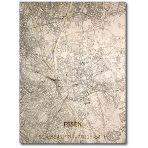 BRANDTHOUT. Wanddecoratie Citymap Essen | Houten wandpaneel