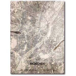 BRANDTHOUT. Wanddecoratie Citymap München | Houten wandpaneel