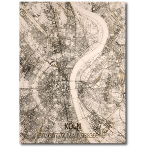 BRANDTHOUT. Wall decoration Citymap Cologne | Wooden wall panel