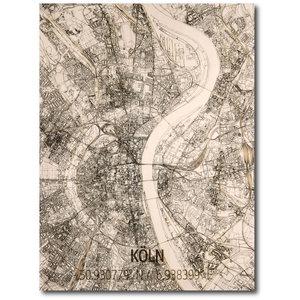 BRANDTHOUT. Wanddecoratie Citymap Keulen | Houten wandpaneel