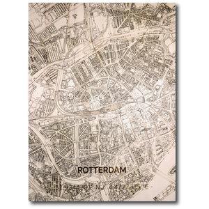 BRANDTHOUT. Wanddecoratie Citymap Rotterdam | Houten wandpaneel