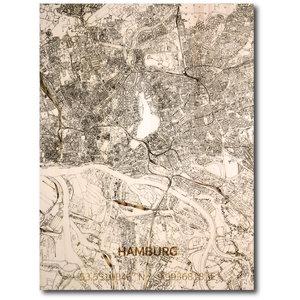 BRANDTHOUT. Wandbild Stadtplan Hamburg | Wanddekoration Holz