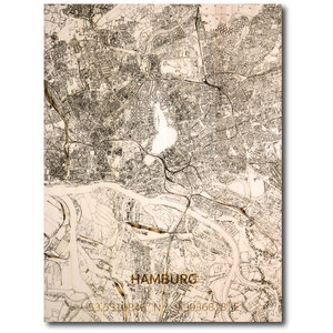 BRANDTHOUT. Wanddecoratie Citymap Hamburg | Houten wandpaneel