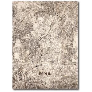 BRANDTHOUT. Wanddecoratie Citymap Berlijn | Houten wandpaneel