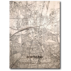 BRANDTHOUT. Wanddecoratie Citymap Dortmund | Houten wandpaneel