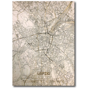 BRANDTHOUT. Wall decoration Citymap Leipzig | Wooden wall panel