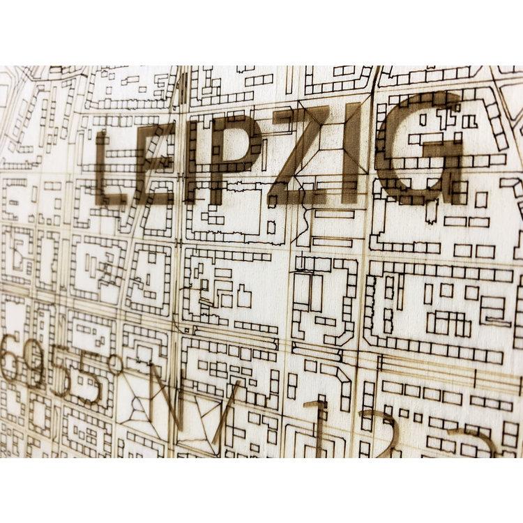 BRANDTHOUT. BRANDTHOUT. Wanddecoratie Citymap Leipzig   Houten wandpaneel