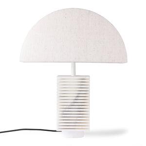 HKliving Geribbeld tafellampvoet wit marmer