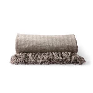 HKliving cotton bedspread zigzag stitch taupe (130x170cm)
