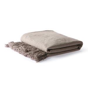 HKliving HKliving cotton bedspread zigzag stitch taupe (130x170cm)