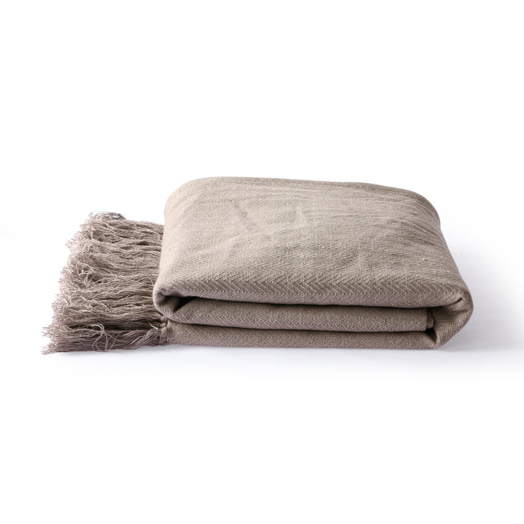 HKliving HKliving Baumwolle Tagesdecke Zick-Zack-Stich taupe (130x170cm)