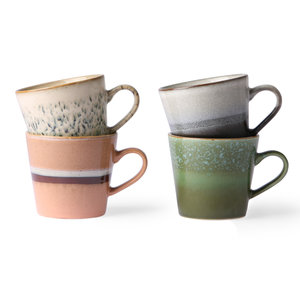 HKliving 70's ceramic cappuccino mugs set of 4