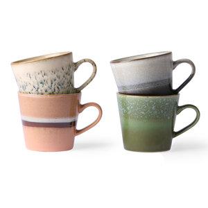 HKliving HKliving keramische 70's cappuccino mokken set van 4