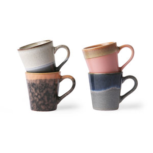 HKliving keramische espresso-koffiemokken van de jaren 70 set van 4