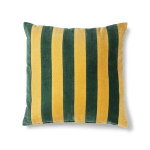 HKliving Gestreept kussen fluwelen groen / mosterd (50x50)