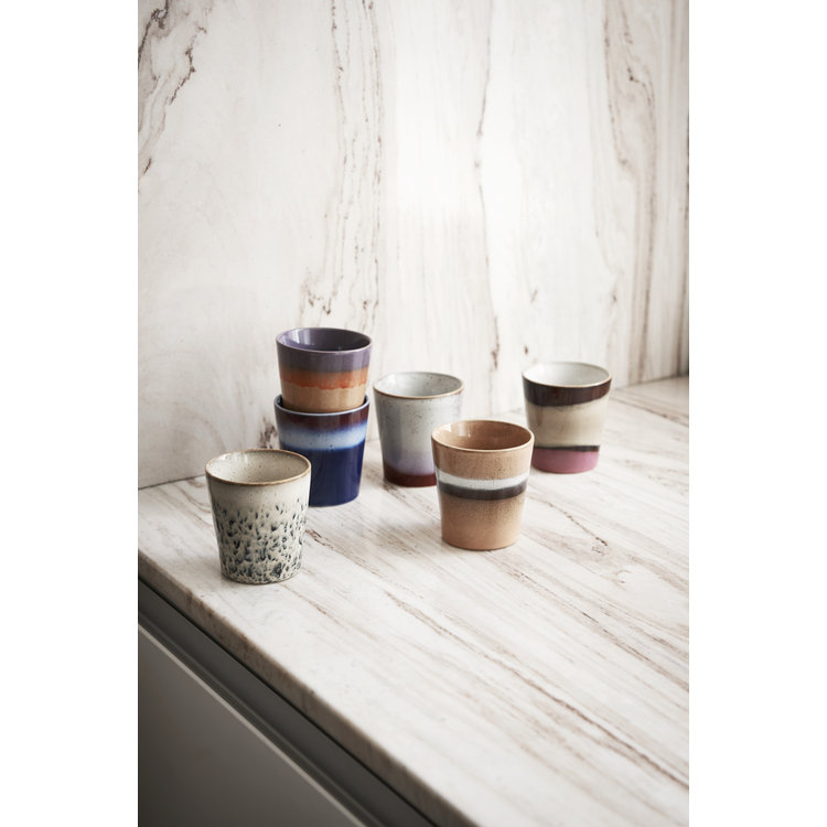 HKliving HKliving Mug 70's ceramic Set of 6 collection 2020
