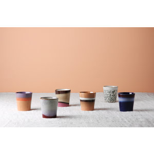HKliving HKliving Mok 70's keramiek Set van 6 collectie 2020