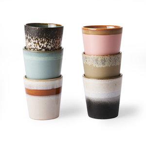 HKliving Mok 70's keramiek Set van 6 - nieuwe kleuren.