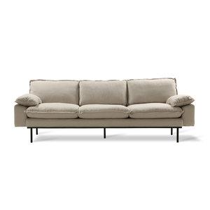 HKliving Retro-Sofa: 4-Sitzer, gemütlich, beige