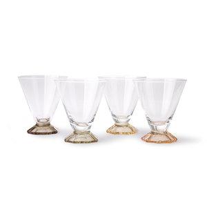 HKliving Gekleurde cocktailglas set van 4