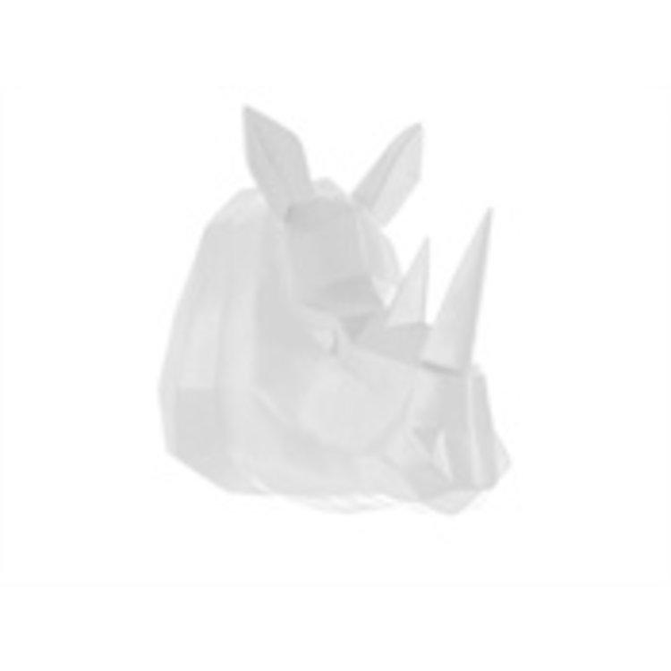 Present Time Present Time Wandhalter Origami Rhino Polyresin matt weiß