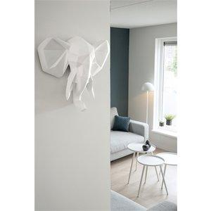 Present Time Present Time Wall hanger Origami Rhino polyresin matt white