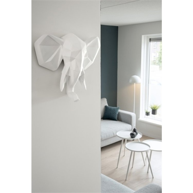 Present Time Wandhalter Origami Rhino Polyresin matt weiß