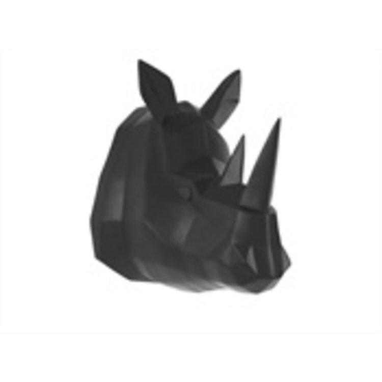 Present Time Presenttime Wall hanger Origami Rhino polyresin matt Black
