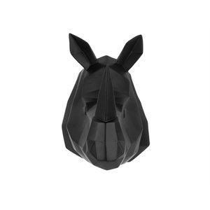 Present Time Presenttime Wandhanger Origami Rhino polyresin mat Zwart