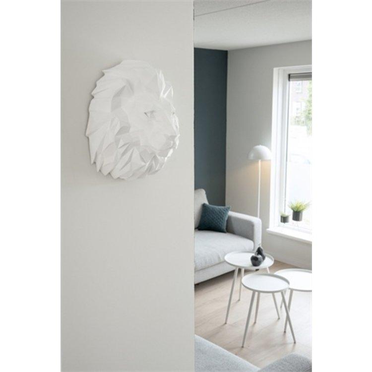 Present Time Wall hanger Origami Lion Polyresin Matt White