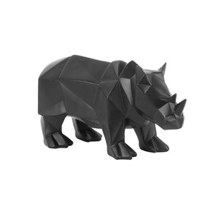 Present Time Statue Origami Rhino mattschwarz