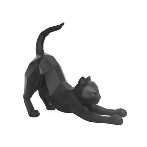 Present Time Statue Origami Cat Stretching  matt black