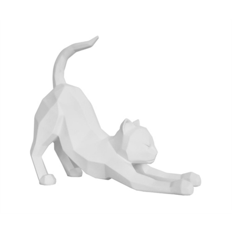 Present Time Standbeeld Origami Cat Stretch polyresin mat wit