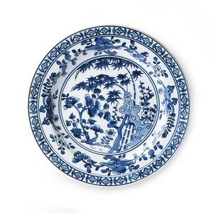 HKliving Teller Kyoto Keramik handbemald weiß/blau