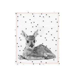 Present Time Tea towel animal w. cotton yellow ocher stitch
