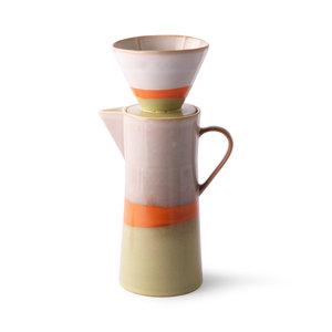 HKliving Kaffeekanne und Filter aus Keramik der 70er Jahre