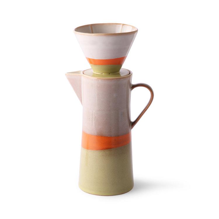 HKliving HKliving Keramik 70er Jahre Kaffeekanne und Filter