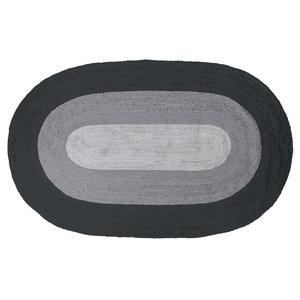 WOOOD Rand Teppich ovale Jute schwarz / grau 170x300