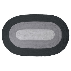 WOOOD Randdeken ovale jute zwart / grijs 170x300