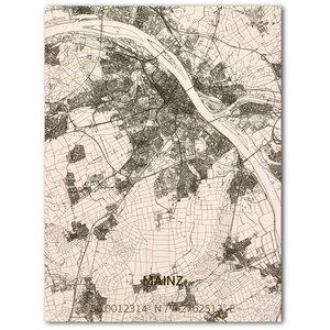BRANDTHOUT. Wanddecoratie Citymap Mainz | Houten wandpaneel