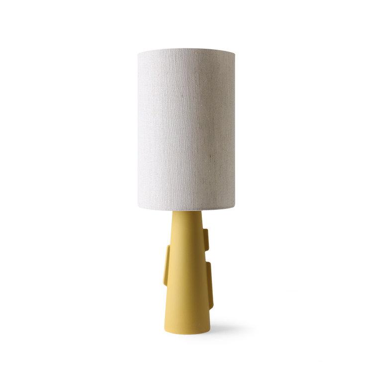 HKliving HKliving Printed cylinder lampshade black lines of natural linen