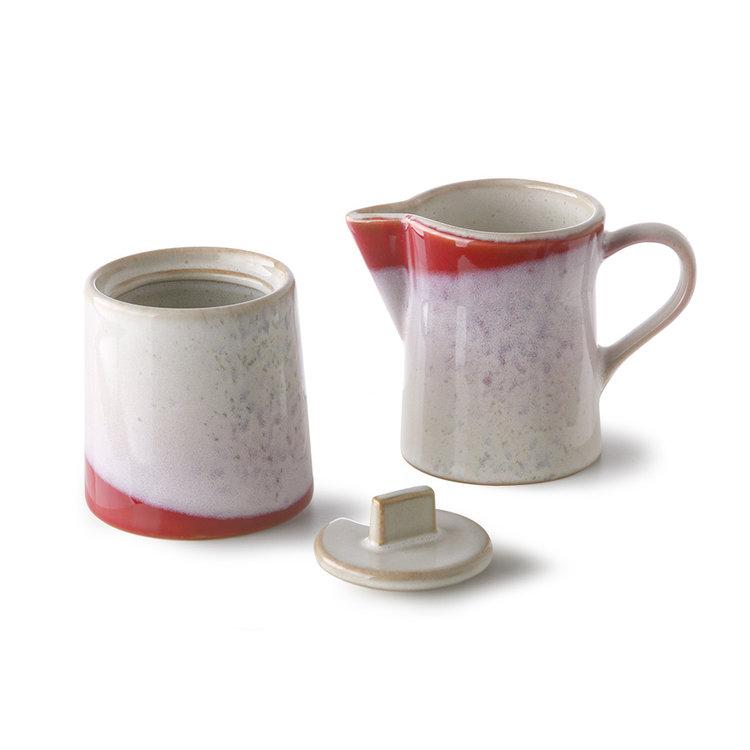 HKliving HKliving keramische melkkan & suikerpot 70's: frost