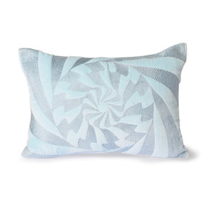 HKliving graphic embroidered cushion ice blue (35x50)