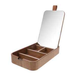 HKliving storage box with mirror made of willow wood, mirror glass and leather.