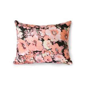 HKliving Printed cushion floral / flakes / purple (30x40)