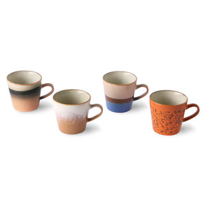 HKliving HKliving ceramic 70s americano mugs set of 4, choice of 2 variants