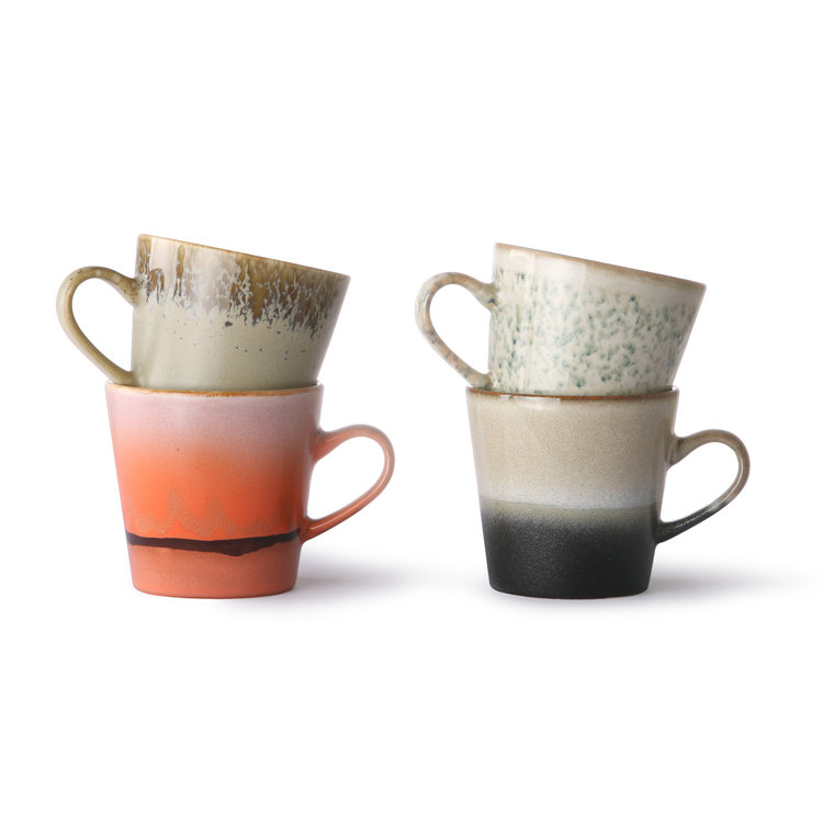 HKliving HKliving Keramik 70er Americano Becher 4er-Set, 2 Varianten zur Auswahl