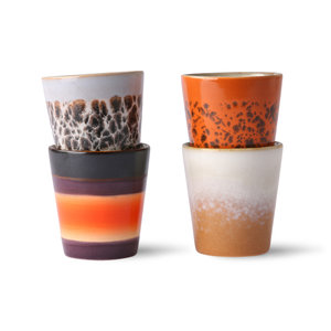 HKliving Ceramic 1970s ristretto mugs (set of 4)