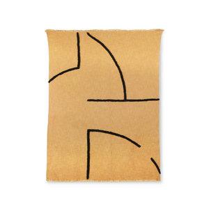HKliving zacht geweven plaid met zwart tufted strepen (130 x 170)